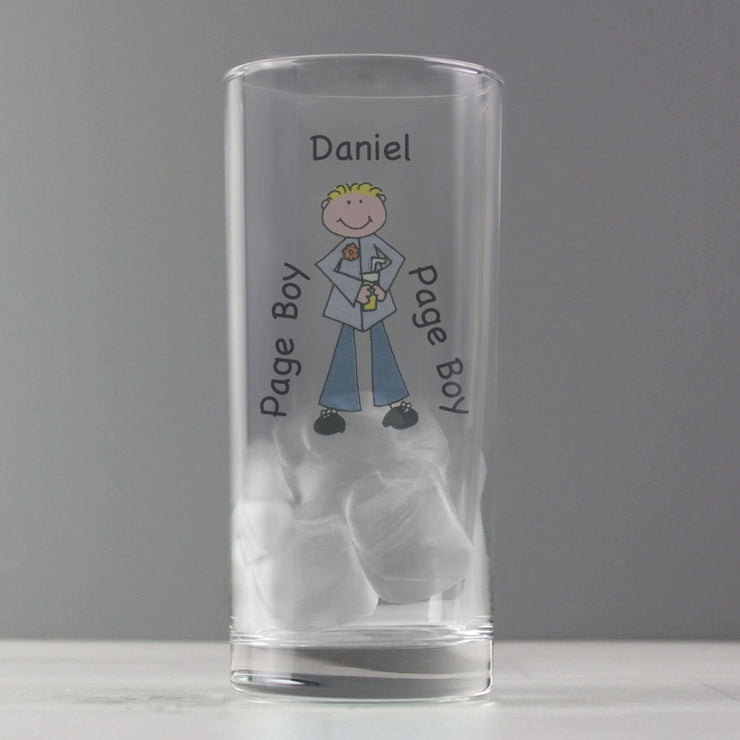 Personalised Cartoon Wedding Young Male Hi Ball Glass-Hi Ball Glass-Give Personalised Gifts