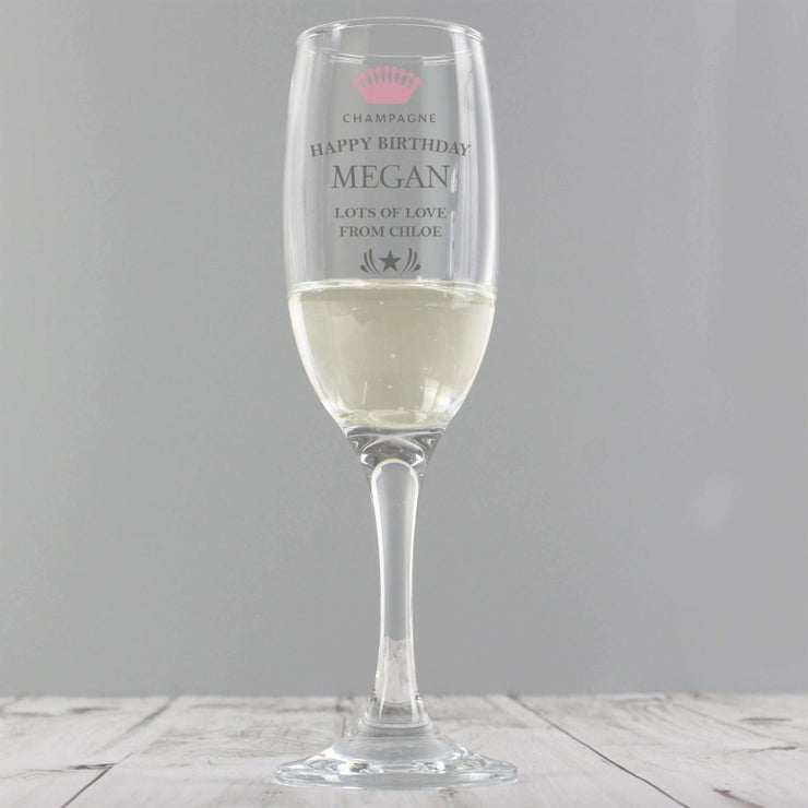 Personalised Champagne Crown Glass Flute-Flute-Give Personalised Gifts
