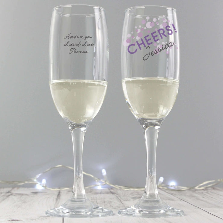 Personalised Cheers Glass flute-Flute-Give Personalised Gifts