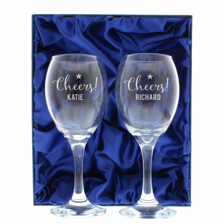 Personalised Cheers Wine Glass Set-Glassware-Give Personalised Gifts