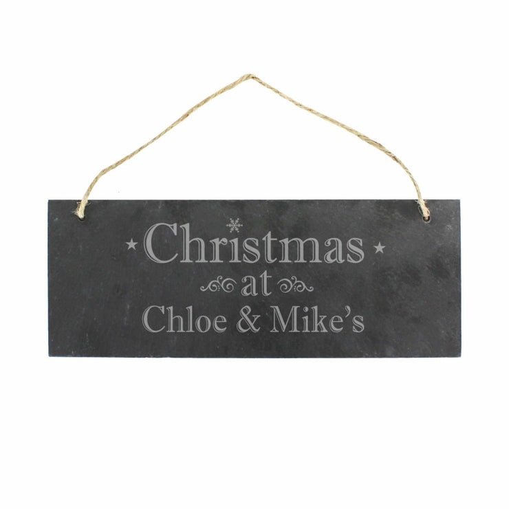 Personalised Christmas Hanging Slate Plaque-Canvases & Plaques-Give Personalised Gifts