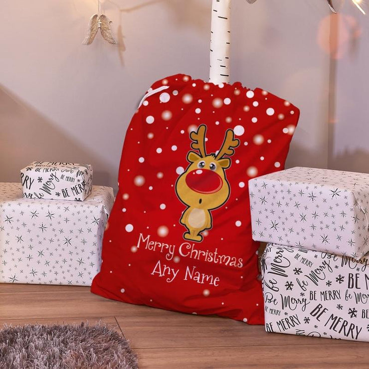 Personalised Christmas Reindeer Red Santa Sack