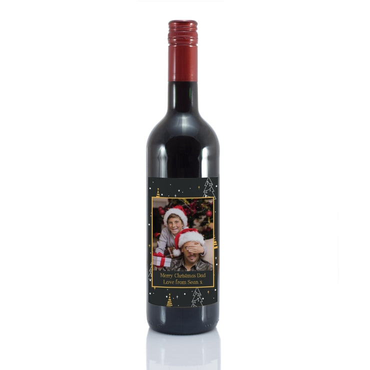 Personalised Christmas Tree Photo Upload Bottle Of Red Wine-Wine-Give Personalised Gifts