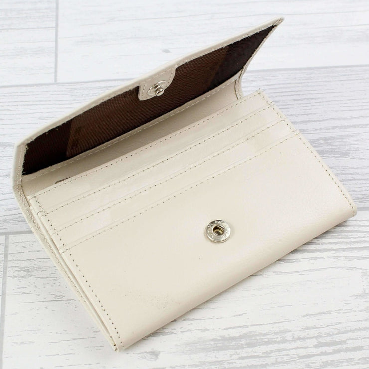 Personalised Classic Cream Leather Purse-Purse-Give Personalised Gifts