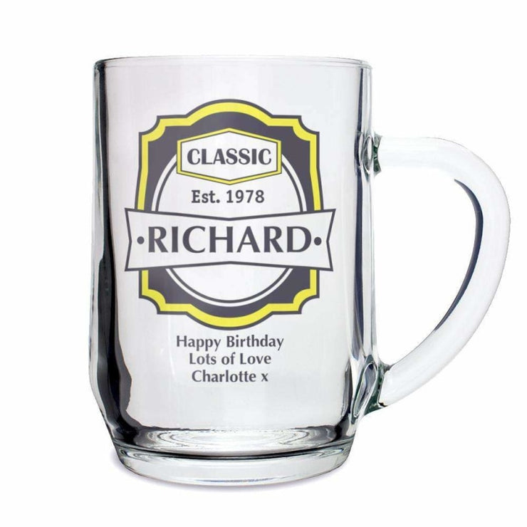 Personalised Classic Glass Tankard-Tankard-Give Personalised Gifts
