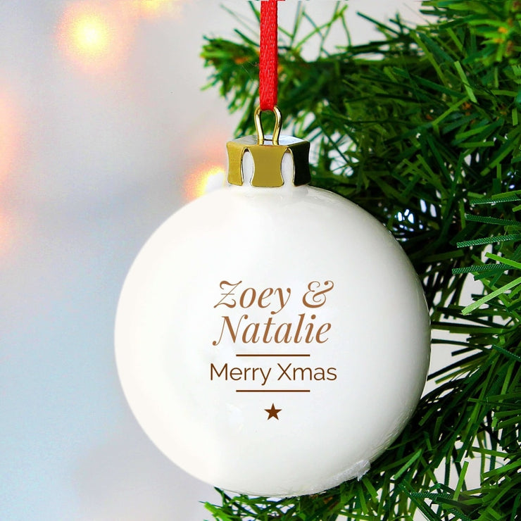 Personalised Classic Gold Star Christmas Bauble-Bauble-Give Personalised Gifts
