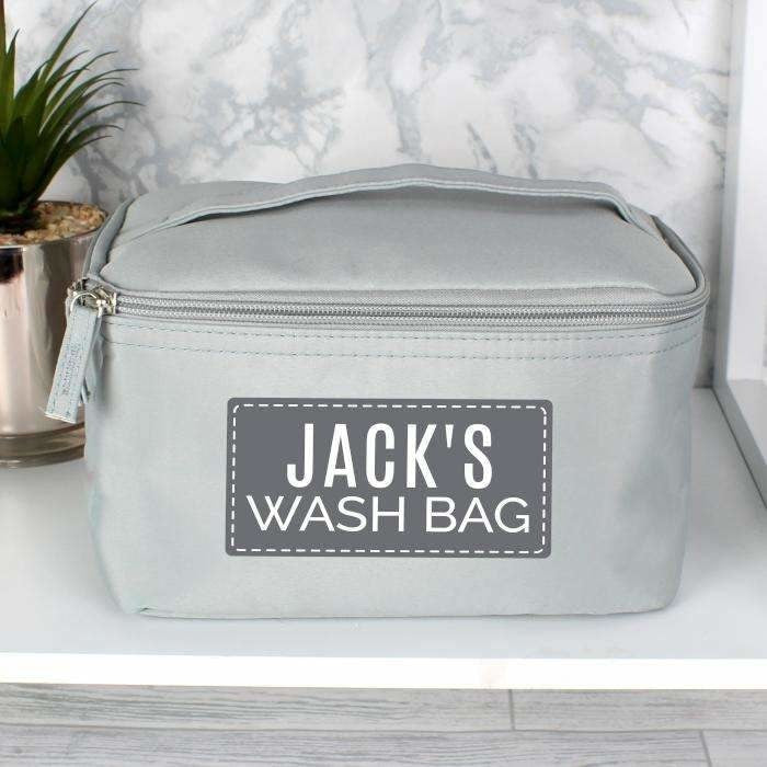 Personalised Classic Grey Make Up Wash Bag-Wash Bag-Give Personalised Gifts