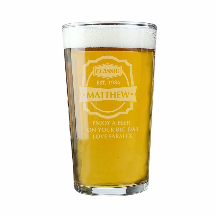 Personalised Classic Pint Glass-Glassware-Give Personalised Gifts