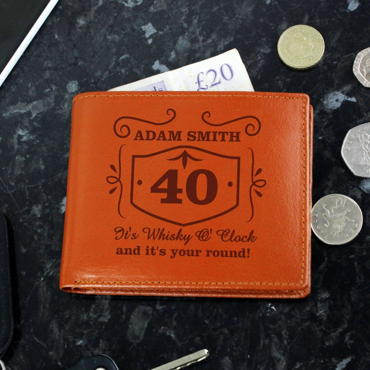 Personalised Classic Whisky Tan Leather Wallet-Wallet-Give Personalised Gifts