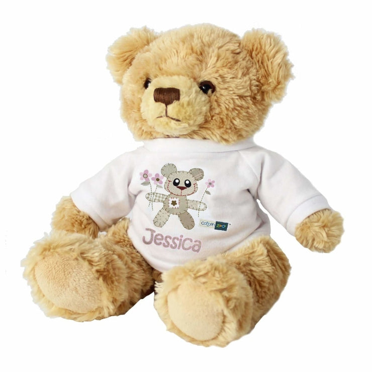 Personalised Cotton Zoo Tweed the Bear Girls Teddy-Teddies-Give Personalised Gifts