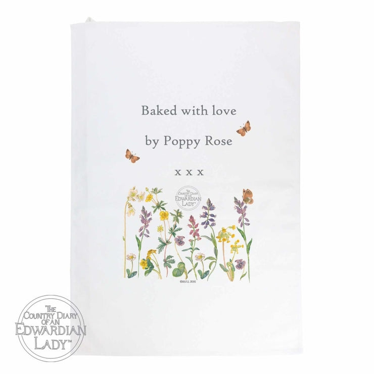 Personalised Country Diary Wild Flowers White Tea Towel-Tea Towel-Give Personalised Gifts
