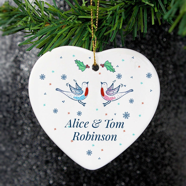 Personalised Couple's Christmas Heart Decoration-Hanging Decoration-Give Personalised Gifts