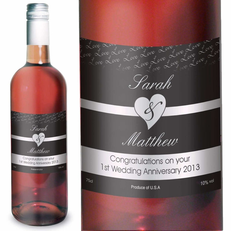 Personalised Couples Heart Rose Wine- Black Design-Beverage & Accessories-Give Personalised Gifts