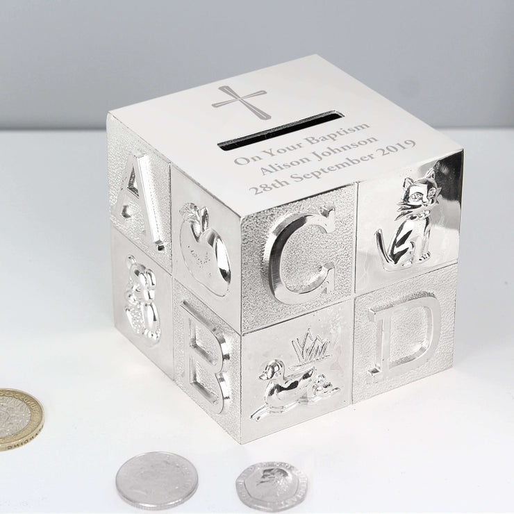 Personalised Cross ABC Money Box-Money Box-Give Personalised Gifts