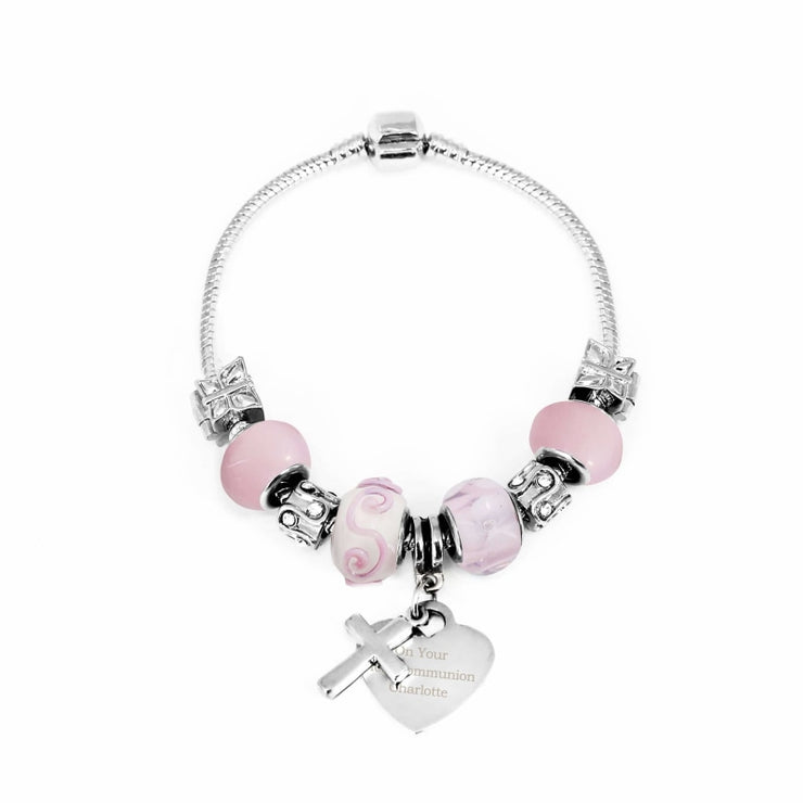 Personalised Cross Charm Bracelet - Candy Pink - 18cm-Jewellery-Give Personalised Gifts