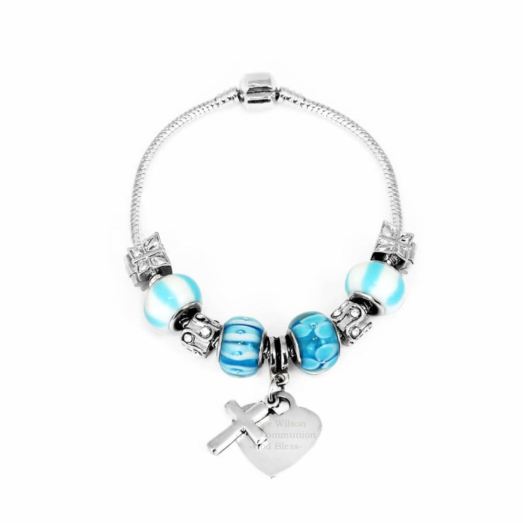 Personalised Cross Charm Bracelet - Sky Blue - 18cm-Jewellery-Give Personalised Gifts