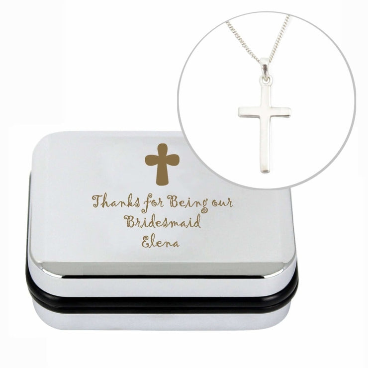 Personalised Cross Necklace and Box-Jewellery-Give Personalised Gifts