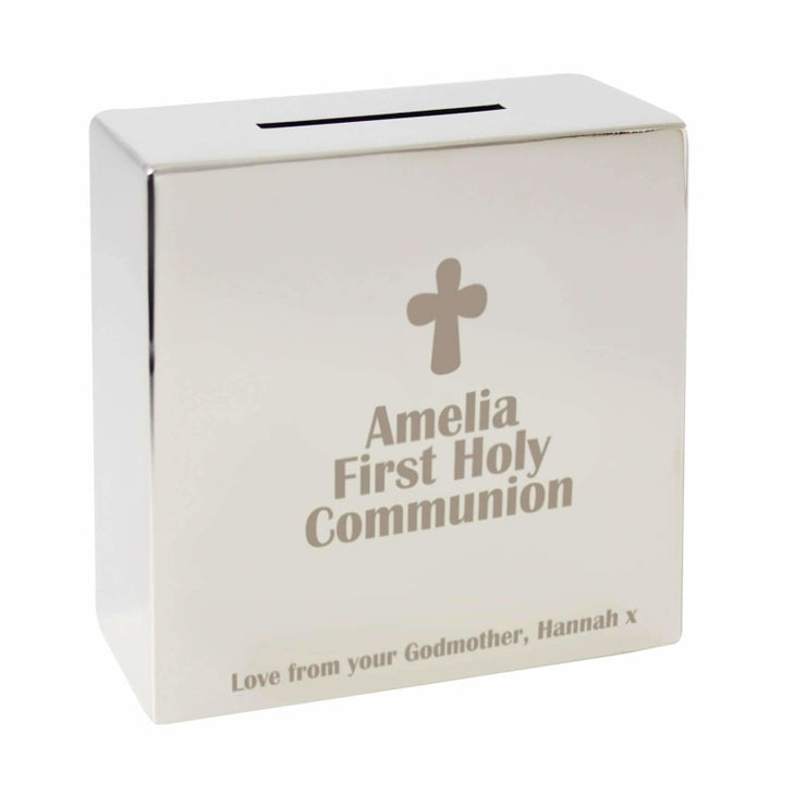Personalised Cross Square Money Box-Money Box-Give Personalised Gifts