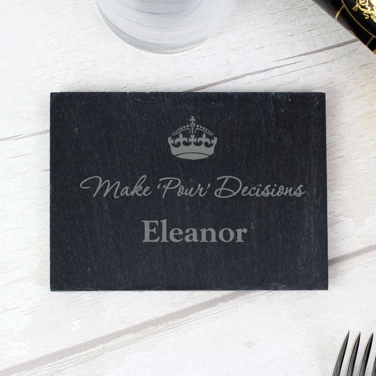 Personalised Crown Motif Single Slate Coaster-Hanging Decoration-Give Personalised Gifts
