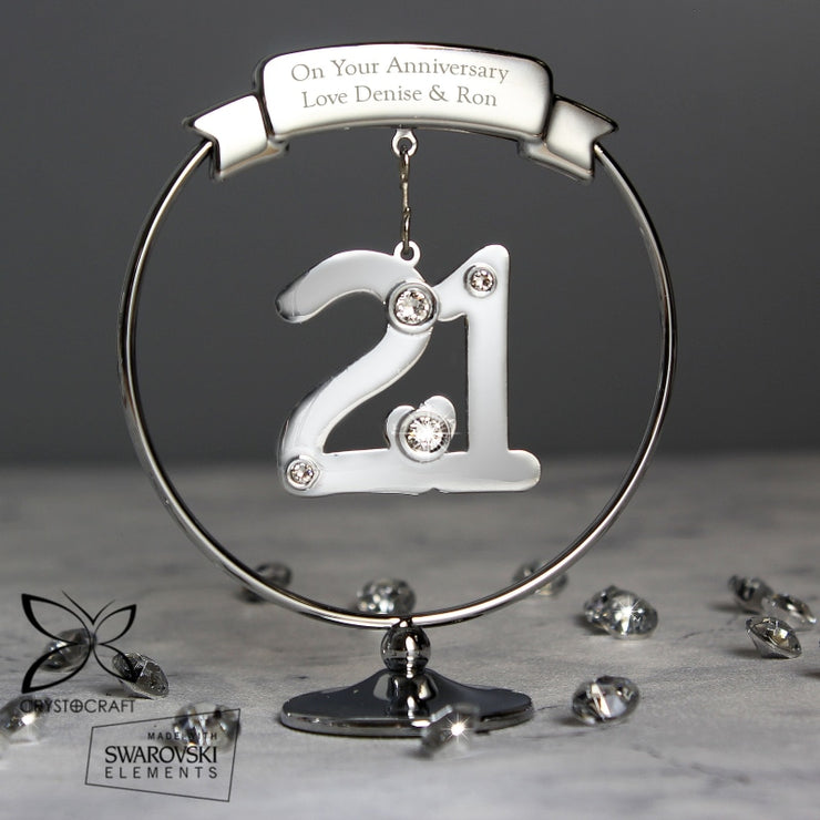 Personalised Crystocraft 21st Celebration Ornament-Ornaments-Give Personalised Gifts