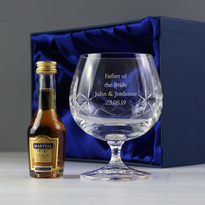 Personalised Cut Crystal & Brandy Gift Set-Miniature Set-Give Personalised Gifts