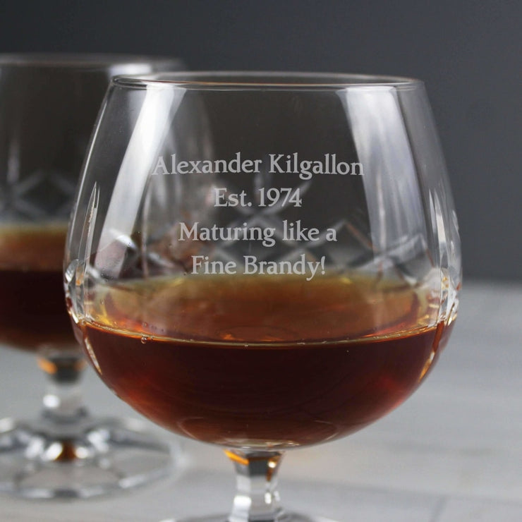 Personalised Cut Crystal Small Brandy Glass-Glassware-Give Personalised Gifts