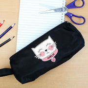 Personalised Cute Cat Black Pencil Case-Pen & Pencil Set-Give Personalised Gifts
