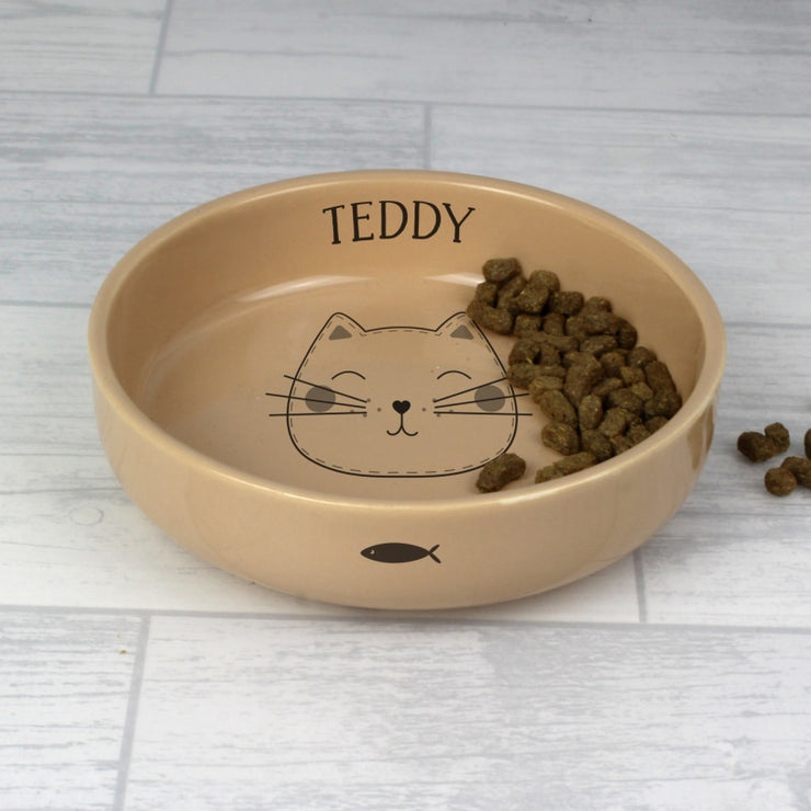 Personalised Cute Cat Small Ceramic Brown Pet Bowl-Cat Bowl-Give Personalised Gifts