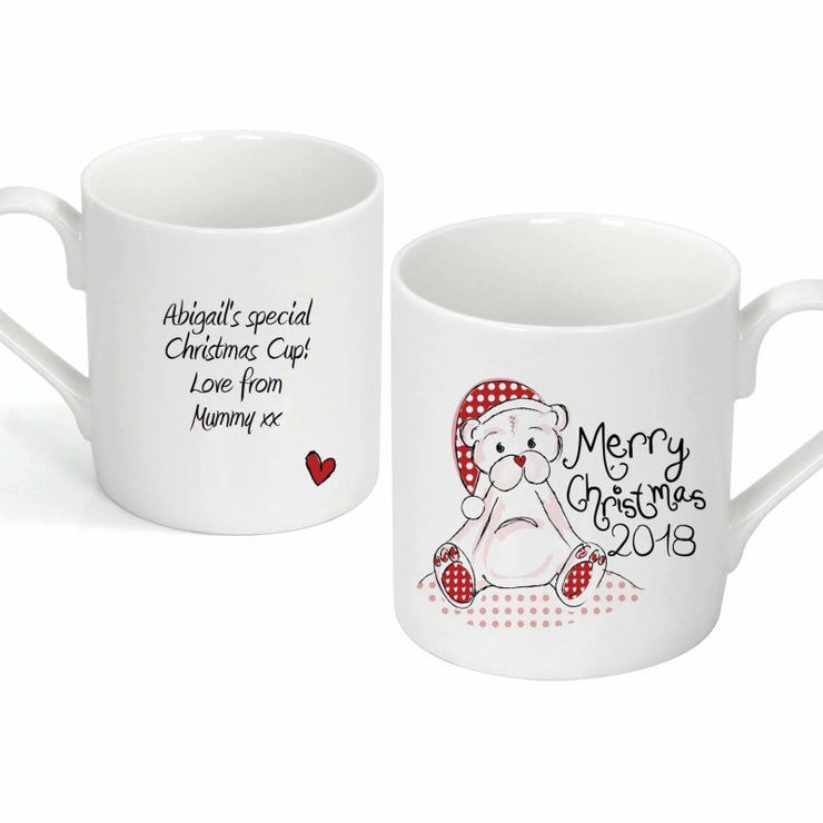 Personalised Cute Teddy Christmas Mug-Mugs-Give Personalised Gifts