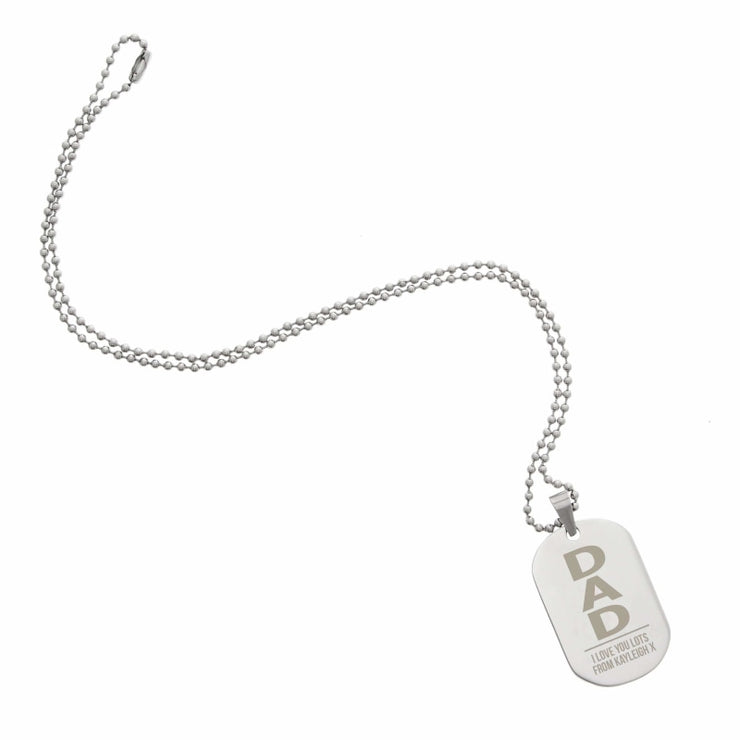 Personalised Dad Stainless Steel Dog Tag Necklace-Jewellery-Give Personalised Gifts