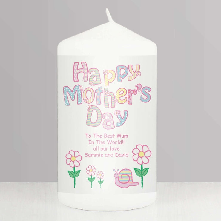 Personalised Daisy Happy Mothers Day Candle-Candles & Holder-Give Personalised Gifts