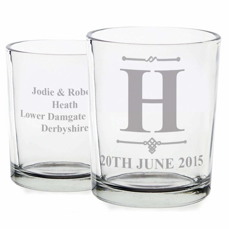 Personalised Decorative Initial Votive Candle Holder-Candles & Holder-Give Personalised Gifts