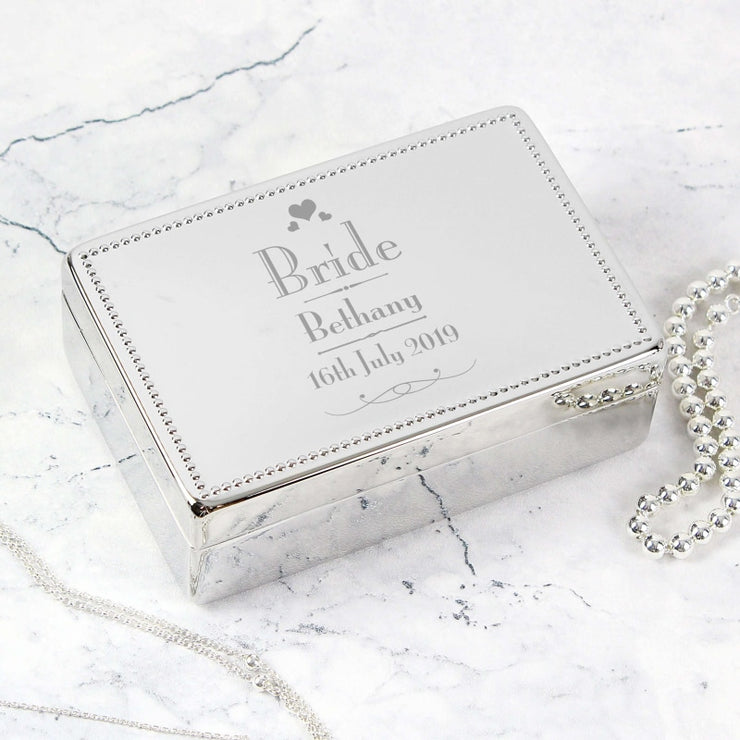 Personalised Decorative Wedding Bride Jewellery Box-Jewellery-Give Personalised Gifts