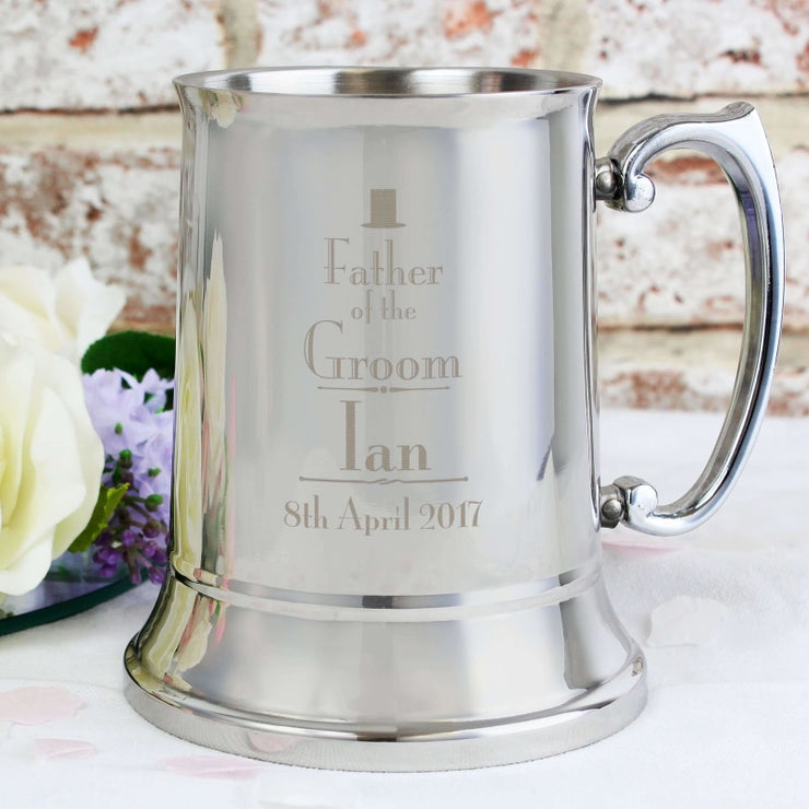 Personalised Decorative Wedding Father of the Groom Stainless Steel Tankard-Tankard-Give Personalised Gifts