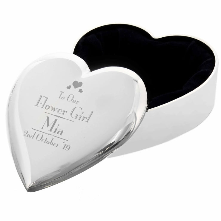 Personalised Decorative Wedding Flower Girl Heart Trinket Box-Trinket Box-Give Personalised Gifts