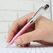 Personalised Diamante Elements Pink Pen-Pen & Pencil Set-Give Personalised Gifts