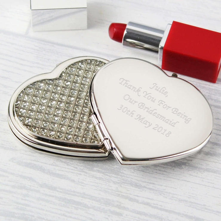 Personalised Diamante Heart Compact Mirror-Compact Mirror-Give Personalised Gifts
