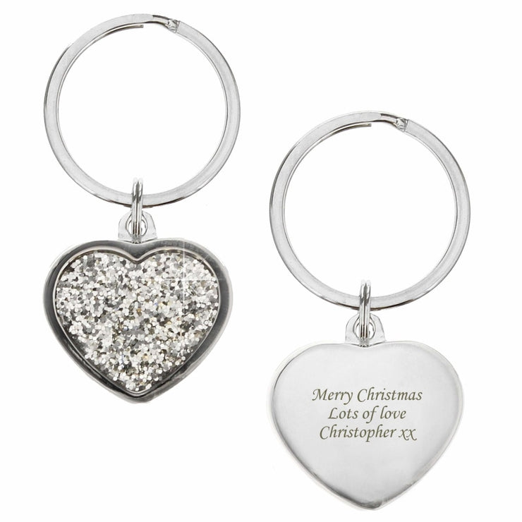 Personalised Diamante Heart Keyring-Keyring-Give Personalised Gifts