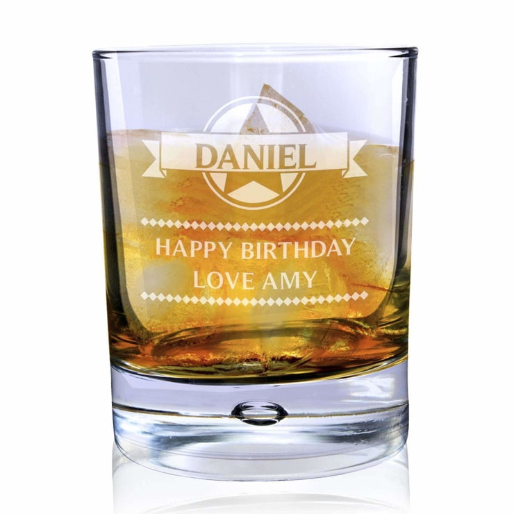 Personalised Diamond Tumbler Bubble Glass-Tumbler-Give Personalised Gifts