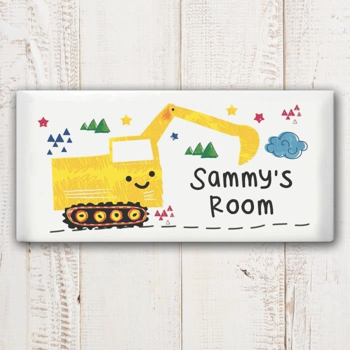 Personalised Digger Door Plaque-Wooden Sign-Give Personalised Gifts