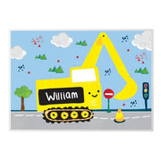 Personalised Digger Placemat-Kids Cutlery-Give Personalised Gifts