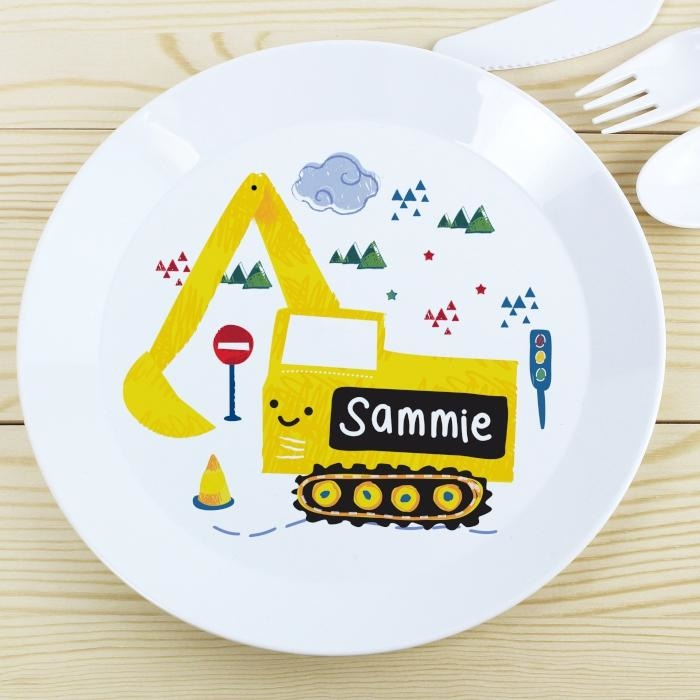 Personalised Digger Plastic Plate-Kids Cutlery-Give Personalised Gifts