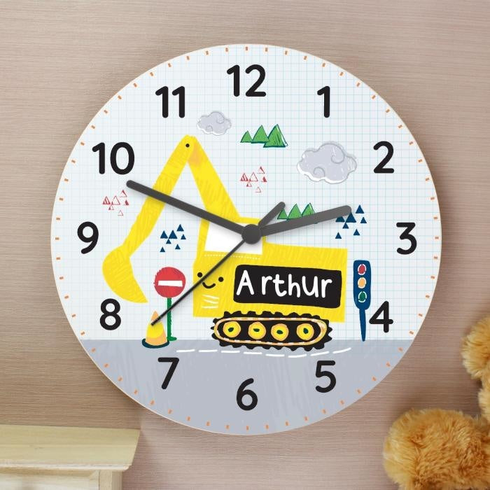 Personalised Digger Wooden Clock-Clock-Give Personalised Gifts