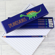 Personalised Dinosaur Box of 12 Blue HB Pencils-Stationary & Accessories Set-Give Personalised Gifts