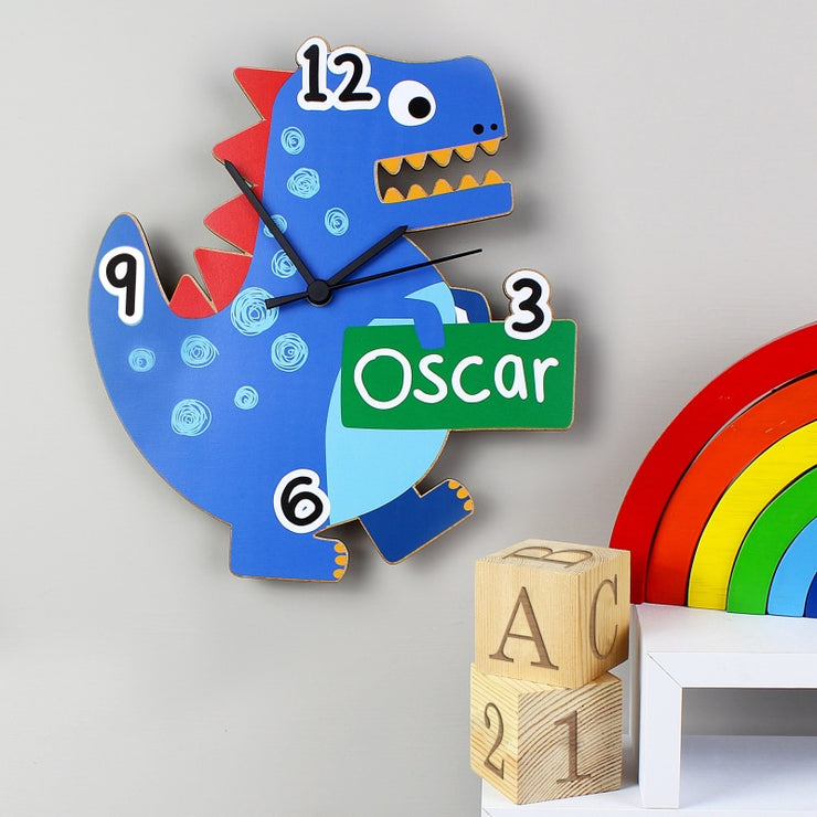 Personalised Dinosaur Shape Wooden Clock-Clock-Give Personalised Gifts