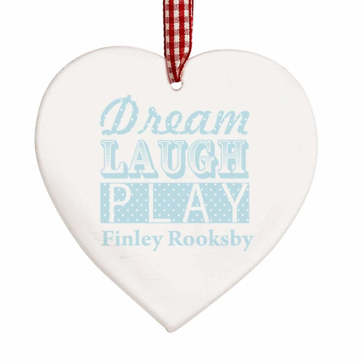 Personalised Dream Blue Wooden Heart Decoration-Hanging Decoration-Give Personalised Gifts