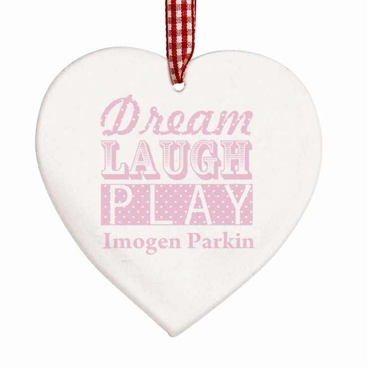 Personalised Dream Pink Wooden Heart Decoration-Hanging Decoration-Give Personalised Gifts