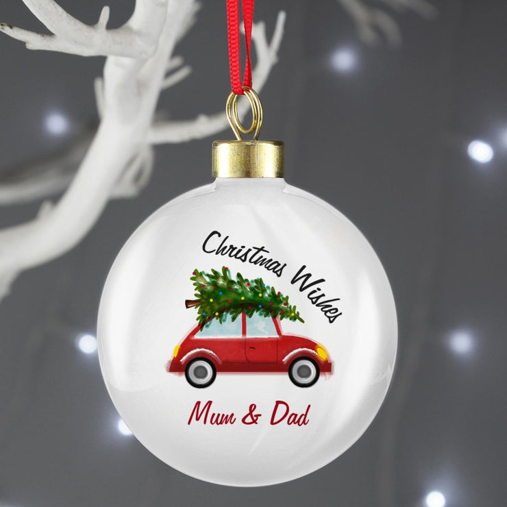 Personalised 'Driving Home For Christmas' Bauble-Bauble-Give Personalised Gifts