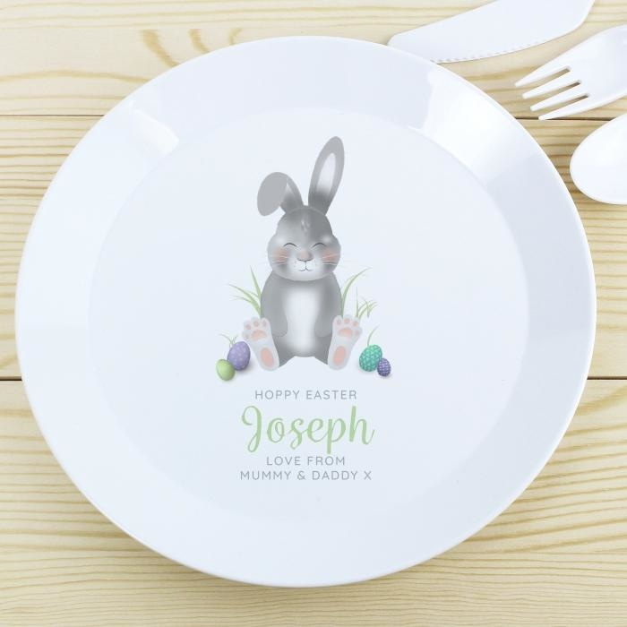 Personalised Easter Bunny Plastic Plate-Kids Cutlery-Give Personalised Gifts