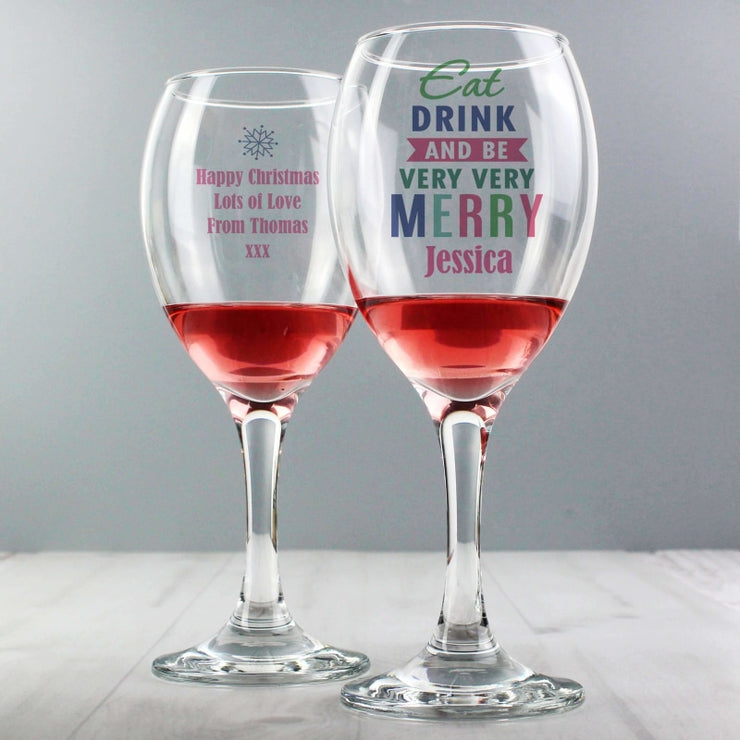 Personalised Eat Drink & Be Merry Wine Glass-Glassware-Give Personalised Gifts